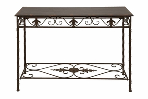 """52703 Metal Wood Console Table 43""""W, 32""""H- Utility And Decor Brand Woodland"""