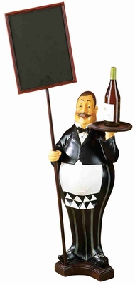 "53"" Polyresin Fat Chef with Chalk Board Menu and Wine Tray Brand Woodland"
