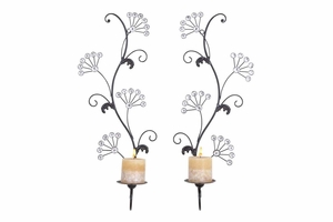 "53003 Metal Candle Sconce S/2 24""H, 9""W- Brighten Up Spaces In Style Brand Woodland"
