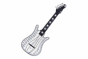 "53011 Metallic Acrylic Guitar 36""H, 12""W Reflective Wall Cum Table Decor Brand Woodland"