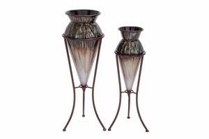 "53106 Metal Vase S/2 32"", 28""H- Supports Interior And Exterior Decor Brand Woodland"