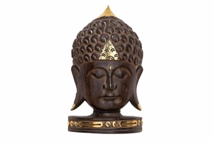 "53702 Wood Buddha Head 12""H, 7""W- Fine Hand Carving Makes It Great"