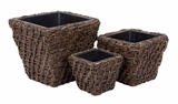 54003 Natural Planter S/3 - Breather To Home Decor Brand Woodland