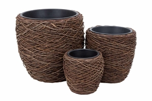 54006 Natural Planter S/3 - Coordinating Floor Decor Brand Woodland