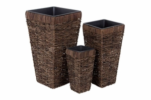 54007 NATURAL PLANTER S/3 : Adds Natural Feel In Spaces Brand Woodland