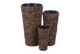 54008 Natural Planter S/3 � Handmade Natural Decor Brand Woodland
