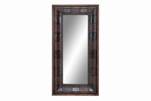 "54101 Wood Leather Mirror 63""H, 32""W- Anytime Decor Refresher Brand Woodland"