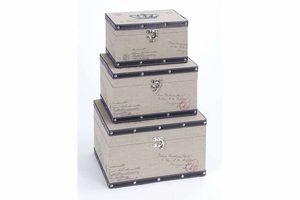 "54103 Wood Leather Box S/3 13"", 11"", 10""W- Utility And Decor Brand Woodland"