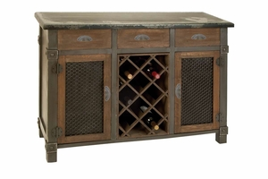 "54400 Wood Wine Cabinet 45""W, 32""H-Three Drawers And 2 Storage Racks Brand Woodland"