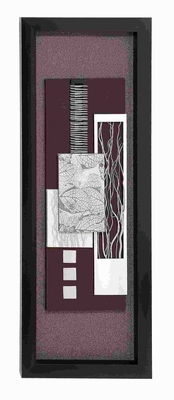 "55""H Contemporary Wood Framed art with Silver Matte Finish Brand Woodland"