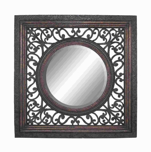 "57""H Wood Frame Mirror in Glossy Finish with Artistic Design Brand Woodland"