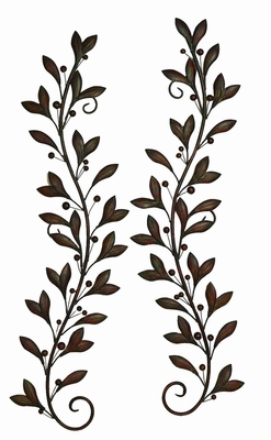 "58"" Classical Metal Leaf Wall Decor Sculpture - Set of 2 Brand Woodland"