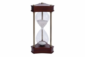 Wood Metal Glass Sand Timer Beautifully Carved - 58191 by Benzara