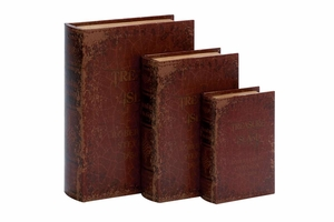 59366 Wood Leather BOOK BOX S/3 � Reflects Your Passion For Books Brand Woodland