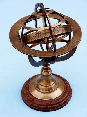"6"" Brass Globe Armillary Sphere Sundial With Stand Brand Wild Orchid"