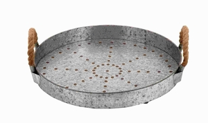 """6""""H Metal Galvanized Rope Tray Designed with Great Finesse Brand Woodland"""