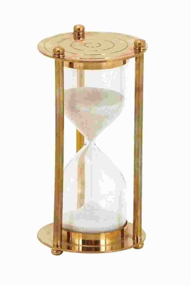 Metal Glass Sand Timer Lustrous and Metallic Finish - 46672 by Benzara