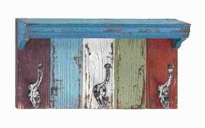 """6""""H Wood Metal Wall Hook with Assortment of Vibrant Colors Brand Woodland"""
