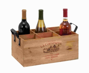 """6""""H Wood Metal Wine Holder Simple in Design, Similar To a Tray Brand Woodland"""