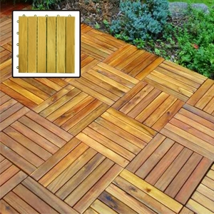 6 Slat Acacia Interlocking Deck Tile by Vifah