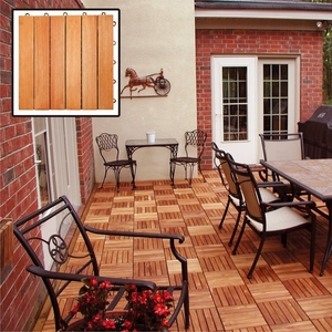 6 Slat Eucalyptus Interlocking Deck Tile by Vifah