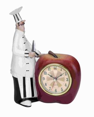 "6""W Unique Polystone Chef Table Clock with Attractive Colors Brand Woodland"