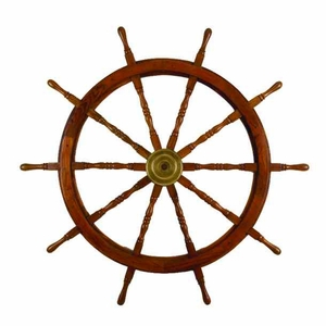 "60"" Solid Nautical Wood Captain Ship Wheel with Brass Inlay Brand Woodland"