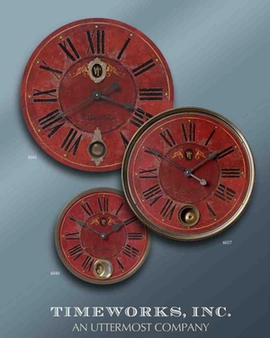 6040 Villa Tesio 11WallClock: Designed Exclusively For Uttermost Brand Uttermost