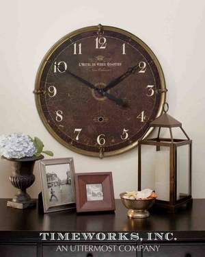 6044 Hotel Du Vieux Quartier: Laminated Clock With Heavy Crackled Look Brand Uttermost