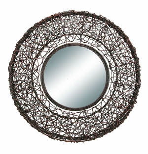 "61542 Rattan Mirror 25""D � Stylish And New Wall Decor Concept Brand Woodland"