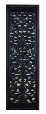 "63"" Ebony Hand Carved with Wood Wall Decor Sculpture in Black Brand Woodland"