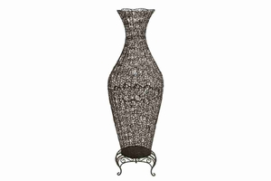 "63264 Metal Vase 62""H, 20""W- Feminine Shape Unique Floor Decor Brand Woodland"
