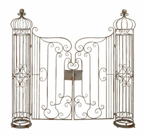 Metal Garden Gate With Natural Brown Tones - 63270 by Benzara