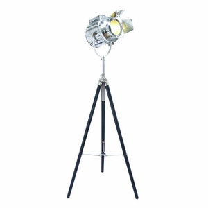 "66""H Metal Wood Tripod Spot Light with Protective Metal Fixtures Brand Woodland"