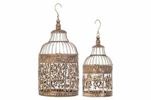 "66017 Metal Bird Cage S/2 20"", 15""H- Bird Keeping With Decor Sense Brand Woodland"