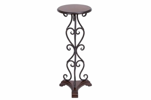 "66728 Metal Wood ROUND TABLE 30""H, 11""W- Great Furniture Addition Brand Woodland"