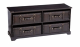 "66859 Wood Leather CABINET 43""W, 20""H- More Storage And Seating Brand Woodland"