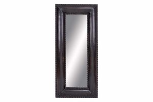"66860 Wood Leather Mirror 69""H, 30""W- Designed For Decor Smarty Brand Woodland"