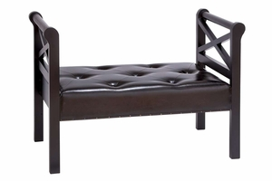 "66861 Wood Leather Bench 43""W, 30""H- Excellent Addition To Furniture Brand Woodland"