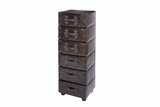 "66862 Wood Leather 6 Drawer Cabinet 48""H, 16""W- Multipurpose Storage Brand Woodland"