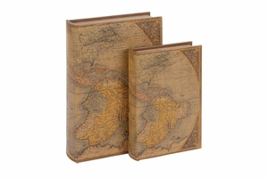 """66966 Wood Leather Book S/2 13"""", 10""""H-  With World Map Design Brand Woodland"""