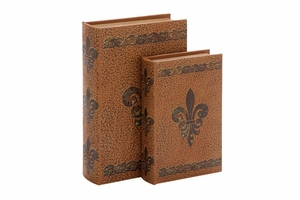 """66967 Wood Leather Book S/2 13"""", 10""""H- Complete Book Care Brand Woodland"""