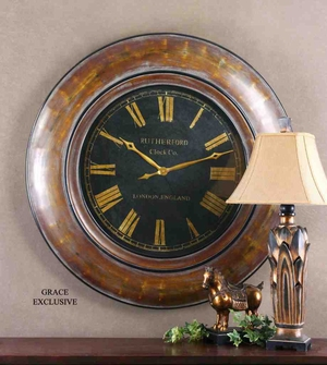 6751 Tyrell Clock: Comes In Walnut Brown Finish With Gold Undertones Brand Uttermost
