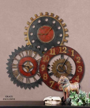 6762 Rusty Movements Clock: Heart Wining Collage Of Clocks Brand Uttermost