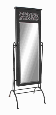 "68""H Wood Metal Dressing Mirror with Crystal Clear Reflections Brand Woodland"