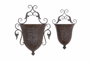"69133 Metal Wall Planter S/2 22"", 18""H- Wall Mountable Nature Decor Brand Woodland"