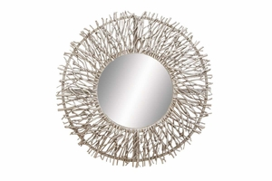 "69158 Metal Wood Mirror 31""D- Low Budget Unique Wall Decoration Brand Woodland"