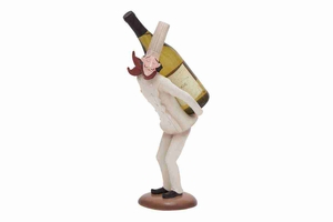 "69355 Polystone Chef Wine Holder 18""H, 6""W- Bar Accent With Fun Flavor Brand Woodland"