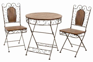"69876 Metal Wood Bistro S/3 30""H, 27""W- Portable And Foldable Furniture Brand Woodland"