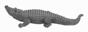 "7""H Ceramic Crocodile Accent in Outdoor Decor in Rich Gray Finish Brand Woodland"